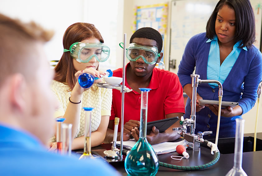 Students Science Class Experiment